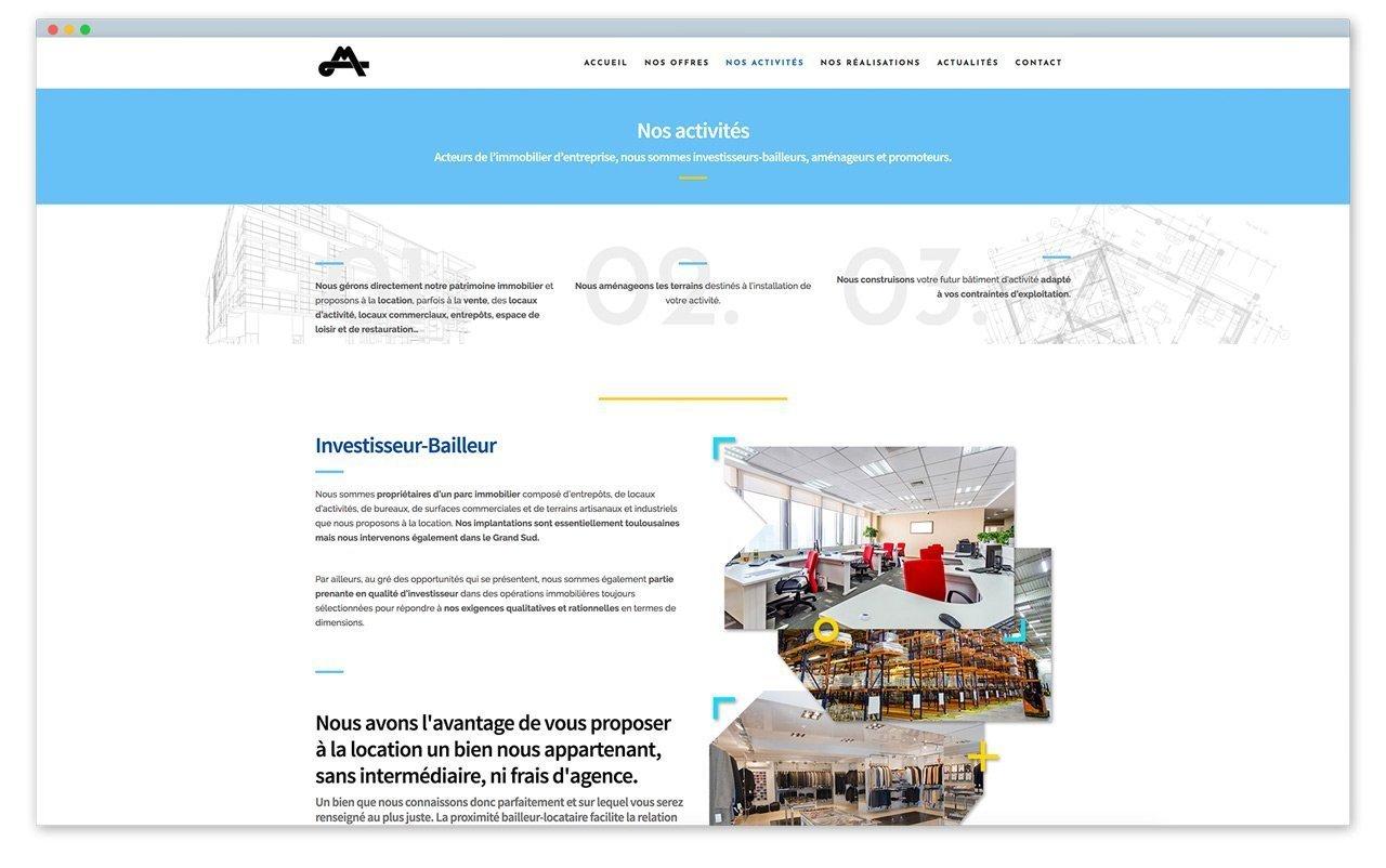 screen de la page du site qui présente les différentes activités de Malet Réalisations