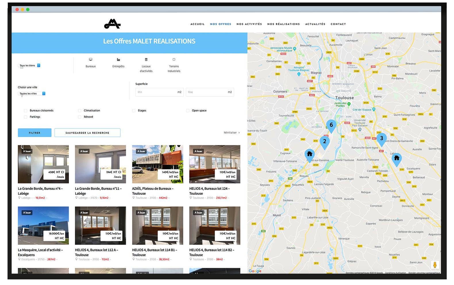 screen de la page offres de location du site avec en arrière-plan des dessins techniques de bâtiment