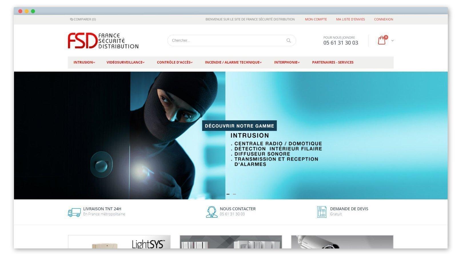 screen de la page d'accueil du site france sécurité distribution