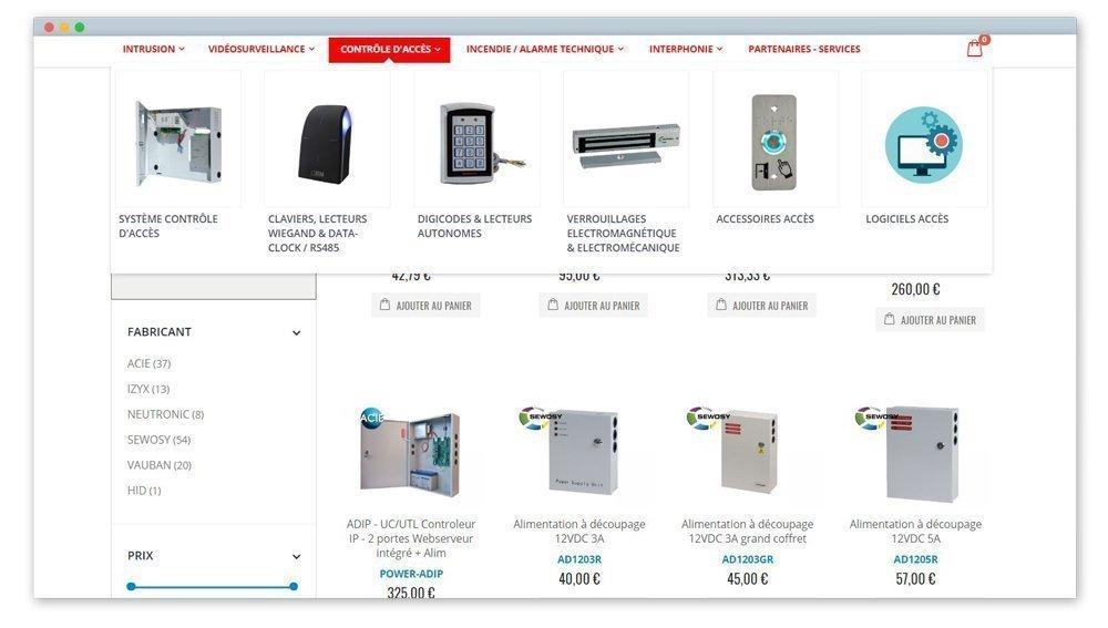 screen du menu déroulant d'une des catégories du menu fsd