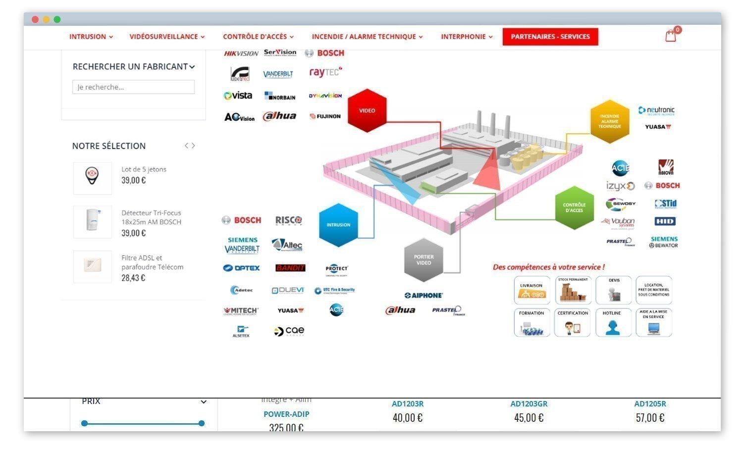 screen de la page partenaires, schéma avec le logo des marques