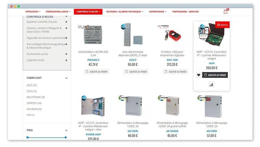screen d'une page avec des produits de contrôle surveillance